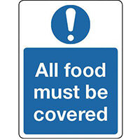 Sign All Food Must Be Covered Polycarbonate 300x100