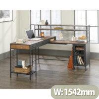 Boulevard Cafe L-Shaped Home Office Desk Vintage Oak Finish & Modern Black Accents W1542mm