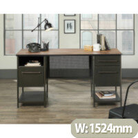 Boulevard Cafe Home Office Desk Black & Vintage Oak Finish W1524mm