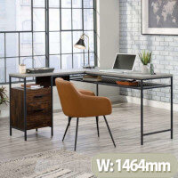 Market L-Shaped Contemporary Home Office Desk Rich Walnut Finish with Slate Grey Accents
