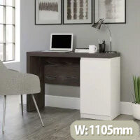 Hudson Chunky Home Office Desk Charcoal Ash Finish with Pearl Oak Accents