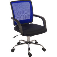 Star Mesh Back Office Chair With Black Fabric Seat And Blue Mesh Backrest