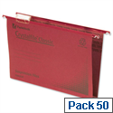 Rexel Crystalfile Classic Vertical Suspension File Red 30mm Foolscap Pack 50