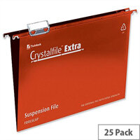 Rexel Crystalfile Extra Foolscap Vertical Suspension File Red Plastic 15mm Pack 25