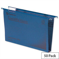 Rexel Crystalfile Classic Vertical Suspension File Blue 50mm Foolscap Pack 50