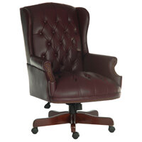 Chairman Executive Leather Faced Office Chair With Fruitwood Finish 5 Castor Base Burgundy