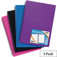 Sundry A4 Wiro Polypropylene Notebook Pack of 5 301471