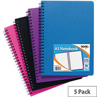 Sundry A5 Wiro Polypropylene Notebook Pack of 5 301472