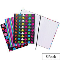 A4 Fashion Assorted Feint Ruled Casebound Notebooks Pack of 5 301650
