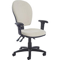 Torun high back asynchro 2 lever operators chair with adjustable arms, chrome base, seat slide and lumbar - made to order