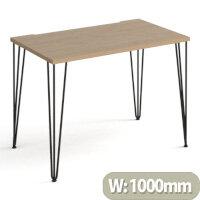 Tikal Straight Desk 1000Mm X 600Mm With Hairpin Legs - Black Legs, Oak Top