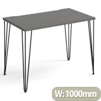 Tikal Straight Desk 1000Mm X 600Mm With Hairpin Legs - Black Legs, Grey Top