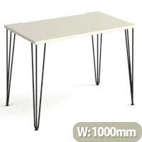 Tikal Straight Desk 1000Mm X 600Mm With Hairpin Legs - Black Legs, White Top