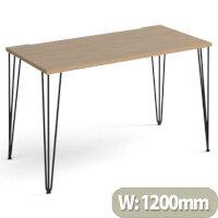 Tikal Straight Desk 1200Mm X 600Mm With Hairpin Legs - Black Legs, Oak Top
