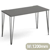 Tikal Straight Desk 1200Mm X 600Mm With Hairpin Legs - Black Legs, Grey Top