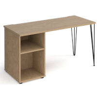 Tikal Straight Desk 1400Mm X 600Mm With Hairpin Leg And Support Pedestal - Black Legs, Oak Top