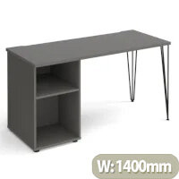 Tikal Straight Desk 1400Mm X 600Mm With Hairpin Leg And Support Pedestal - Black Legs, Grey Top