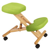 Posture Kneeling Chair With Wood Frame And Polyacrylic Fabric In Lime Green