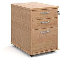 Tall mobile 3 drawer pedestal with silver handles 600mm deep - beech