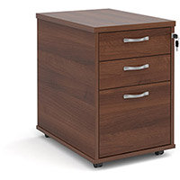 Tall mobile 3 drawer pedestal with silver handles 600mm deep - walnut