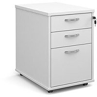 Tall mobile 3 drawer pedestal with silver handles 600mm deep - white
