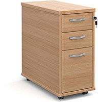 Tall slimline mobile 3 drawer pedestal with silver handles 600mm deep - beech