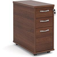 Tall slimline mobile 3 drawer pedestal with silver handles 600mm deep - walnut