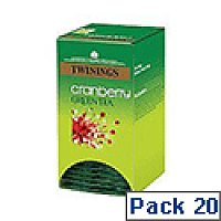 Twinings Cranberry Green Tea Bags Pack 20 F08046