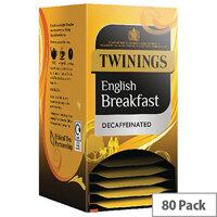 Twinings Decaffeinated English Breakfast Envelope Tea Bags (Pack 20 x4) F12423