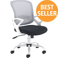 Tyler Mesh Back Operator Office Chair Black Seat with White Frame