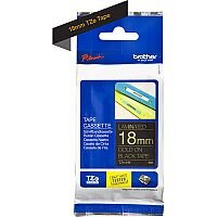 Brother TZe-344 18mm Gold on Black Standard Adhesive Laminated TZe Tape Cassette 8 Metres