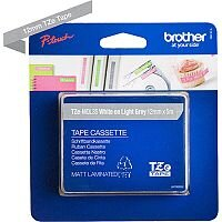 Brother TZe-MQL35 12mm White on Light Grey Standard Adhesive Matt Laminated TZe Tape Cassette 5 Metres