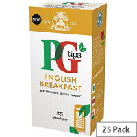 PG Tips English Breakfast Envelope Tea Bags Pack of 25 29013801