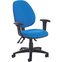 Vantage Plus high back asynchro operators chair with adjustable arms, chrome base and seat slide - made to order