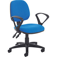 Vantage Plus medium back PCB operators chair with fixed arms, chrome base, seat slide and lumbar - made to order