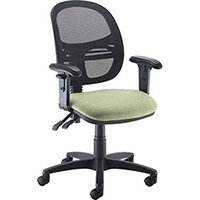 Vantage Mesh medium back operators chair with adjustable arms, chrome base and seat slide - made to order