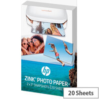 HP ZINK Sticky-Backed Photo Paper for HP Sprocket 5 x 7.6 cm (2 x 3 inch) 20 Sheets
