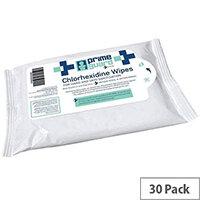 PrimeGuard Chlorhexidine Anti-bacterial Hand Wipes 25 Wipes Per Pack (30 Pack)