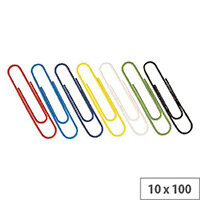 Paperclip Large Plain 32mm Assorted (Pack 10x100)