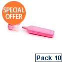 HiGlo Highlighter Pens Pink Pack 10 WX01112
