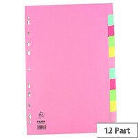A4 Manilla Subject Divider 12-Part Multi-Colour WX01515