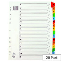 A4 Mylar Index A-Z Multi-Colour Subject Dividers – Eco-Friendly, 20-Part, Alphabetical Filing, Durable, Multi-Punch, Labelling, A4 & Has 16 Dividers (WX01523)