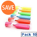 HiGlo Highlighter Pens Assorted Colours Pack of 10 WX16351A