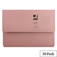 Q- Connect Document Wallet 220gsm Foolscap Pink Pack of 50 WX23015A