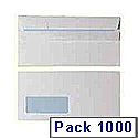 Envelopes DL Window 90gsm White Self Seal (Pack of 1000)