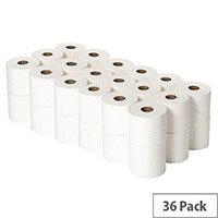 Toilet Roll White Dispenser Refills 320 Sheets Pack of 36 Toilet Paper Rolls WX43093
