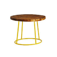 Max Coffee Table - Yellow Base - Rustic Solid Wood Top - 600mm Diameter - Indoor Only