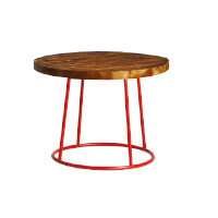 MAX Coffee Table - Red Base - Rustic Solid Wood Top - 600mm Diameter - Indoor Only