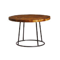 MAX Coffee Table - Raw Base - Rustic Solid Wood Top - 750mm Diameter - Indoor Only