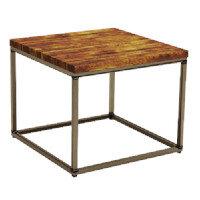 Byron Coffee Table - Rustic Pine - Raw Steel - Square - 600 x 600mm